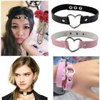 New punk Heart Black Pink Leather Unsex Women Choker Neckalce bracelet Headwear