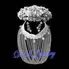 Created Diamond & Clear Crystal Rhinestones Tiara & Necklace & Earrings Clip On
