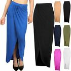 Womens Bodycon Wrap Over Stretchy Maxi Skirt Ladies Asymmetric Long Side Slit