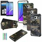 Hybrid Dual Layer Army Camouflage Case Cover+Film+Pen For Samsung Galaxy Note 5