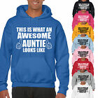 THIS IS WHAT AN AWESOME AUNTIE LOOKS LIKE ADULT HOODIE - AUNT GIFT UNISEX HOOD