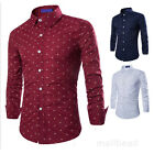 Stylish Mens Anchors Pattern Long sleeve Casual Shirt T-shirts Slim Fit Tee Top