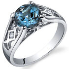 1.50 cts London Blue Topaz Solitaire Ring Sterling Silver Size 5 to 9