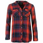 Only Womens Ladies Lamponi Shirt Collarless Button Down Long Sleeve Checked Top