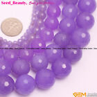 "Beauty Round Faceted Purple Jade Gem Jewelry Making Beads Strand 15"" SD6394-V"
