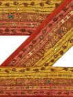 Antique Vintage Saree Border Trim Hand Beaded 1 Yard Decor Craft Multi Color