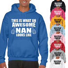 THIS IS WHAT AN AWESOME NAN LOOKS LIKE ADULT HOODIE - NANNA GIFT UNISEX HOOD