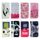 Colorized Vintage Pattern Faux Leather Card Stand Cover Case For iPhone Samsung