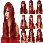RED Natural Long Curly Straight Wavy Womens Fashion Costume Halloween Full Wigs