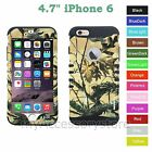 For iPhone 6 Yellow Camo Hybrid Hard&Rubber Rugged Armor Protective Case Cover