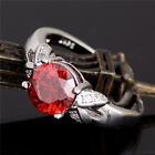 Romantic Engagement Rings silver Red cubic zirconia Ring size 6-10