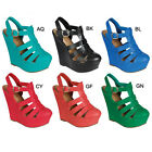 New Hot Sale Breckelle's CAROL-31 Womens Caged Ankle Strap Gladiator Wedge Heels