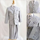 Silver/Light Grey Chambray wedding party graduation boy formal suit 5 pc set