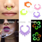 2x Acrylic Glow In The Dark Heart Fake Septum No Piercing Hanger Clip Nose Ring