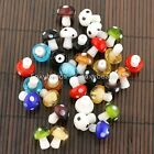 20x Lampwork Glass Cute Mushroom Spacer Loose Beads For Jewelry Charm Making DIY