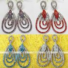 2x Crystal 3-Layer Teardrop Marquise Ear Studs Dangle Drop Earring Party Jewelry