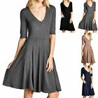 Half Sleeve V Neck Solid Flared Dress with Side Pockets Formal Office S M L