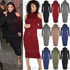 Womens Casual Cold Shoulder Midi Dress Ladies Turtle Neck Long Sleeve Jersey Top