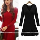 Rare Womens V Neck Knit Warm Winter Slim Fit Long Sweater Bodycon Dress