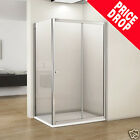 New Walk In Sliding Shower Door Enclosure Cubicle Screen Side Panel Stone Tray