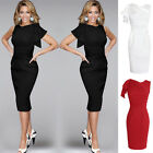 Women Lady Pleated Sleeve Bodycon Cocktail Party Evening Slim Pencil Dress US