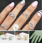 3pcs Rings Fashion Women's Gold/Silver Rhinestone Leaf Above Knuckle Finger Ring
