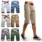 Mens Chino Casual Cotton Plaid Slim Fit Beach Pleated Summer Shorts Bottom Pants