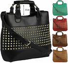 Ladies Leather Style Studded Celebrity Bucket Tote Shopper Bag Satchel Handbag