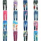 Girls Cartoon Slim Skinny Leggings Children Stretchy Pants Pencil Trousers 4-10Y