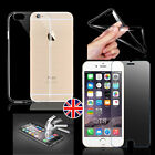 Ultra Thin Clear Gel Case Cover + Tempered Glass For Apple iPhone 5s5 6 6s Plus