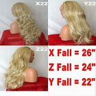 LIGHT ASH BLONDE Long Curly Layered Half Wig Hair Piece Ladies 3/4 Wig Fall Clip