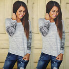 Women Floral Long Sleeve Print Pullover Outwear Jumper Casual Sweater Tops Size