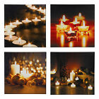 LED Light Flickering Candles Canvas Picture Flicker Wall Hanging Mounted Xmas