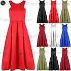 Womens Ladies Sleeveless Pleated Flared Cutaway Neckline Swing Midi Skater Dress