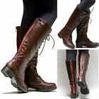 New Women GMv1 Brown Red Zipper Combat Military Knee High Riding Boots 5.5 to 10