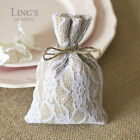 "10/50/100 Burlap Lace Gift Bags w/Twine 4x6""/10x15cm Wedding Favor Jewelry Pouch"