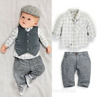 Fashion Newborn Baby Boy Waistcoat + Pants + Shirts clothes sets Outfits Suit