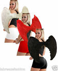 RED NOSE DAY ANGEL WINGS BLACK RED WHITE REAL FEATHER 80CM WIDE ADULTS