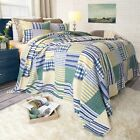 Striped Squared Quilted Blanket Colorful Bedspread Twin Queen King