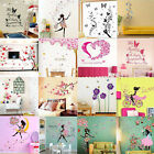 Removable Flower Girl Butterfly Wall Stickers Vinyl Decal Room Home Mural Decor