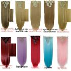 8Pcs Natural Clip In Hair Extensions Full Head Synthetic Brown Blonde Purple SYE