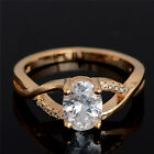 Hot Sale 1pc 18K Gold Filled Clear Oval Cubic Zirconia Shining Ring Size 7-9