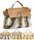 Ladies LYDC London Designer Faux Fur Ostrich Satchel Office Shoulder Handbag