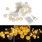 220V 20 LED Wicker Rattan Ball String Fairy Lights Warm White Wedding Party Xmas