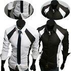 Mens Luxury Button Front Casual Dress Slim Fit T-Shirts Long Sleeve Work Shirts