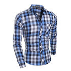 2016 Men's Long Sleeve Striped Plaids Colorful Checks Casual Dress Shirt Top