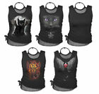 Spiral Direct Printed Black Mesh Vest T-shirt Top Gothic Biker Rocker Pagan