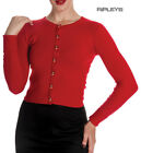 HELL BUNNY Ladies Paloma 50s Plain Cardigan Top Red #2 All Sizes
