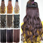 Uk ladies black blonde brown clip in hair extensions straight curly wavy 18-28""