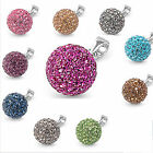 CZ Crystal FIRE BALL .925 Sterling Silver PENDANT! 12 BEAUTIFUL COLORS!